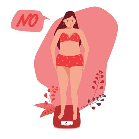 Beautiful young woman in underwear is standing on the floor scales. She gained weight. Weight loss and diet concept. Vector cartoon character of a woman. The problem of excess weight, suffering.