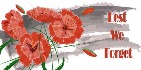 Greeting card with beautiful red poppies and text: Lest we forget. Banner for Memorial Day, Happy Veterans Day. Vector poppies are made in the style of watercolor drawing