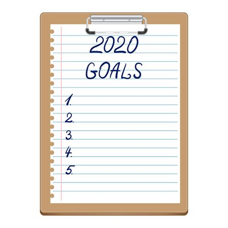 2020 New Year, Goals. Clipboard with white sheet. Text on paper in blue, written by hand. Lettering 2020 GOALS.