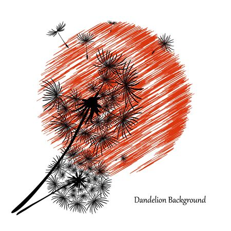 White background with two dandelions and a red sun. Black silhouette of a dandelion. Flower seeds fly to the sky. Abstract beautiful vector drawing. Summer dandelion icon with a red circle.