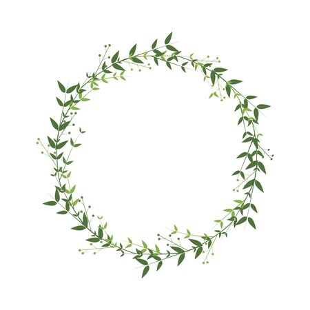 Elegant delicate wreath with green leaves and twigs with berries. Vector flat illustration. Border isolated on a white background. Laconic spring logo, symbol. Round frame with place for text.