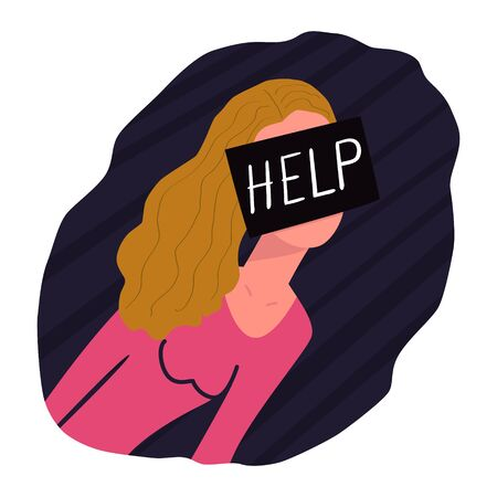 The girl asks for help. On the face is a black square with the text HELP. Concept of sexual abuse, psychological trauma, violence against people. Inability to solve the problem on their own. Ilustração