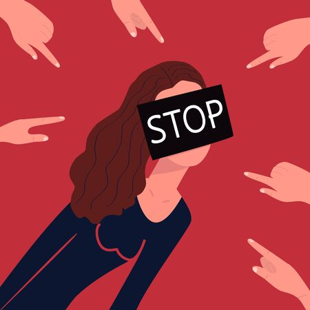 Stop bullying. Concept. Fingers point to a thin girl. Her face is hidden under a black square with the word STOP. The anonymous character of a bullied teenager. Relations in society. Vector