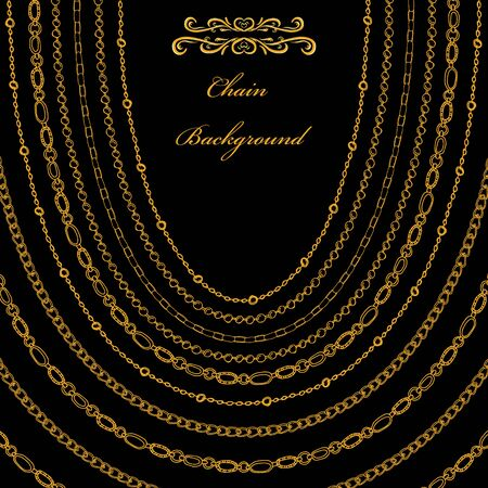 Background from chains and beads for advertising, jewelry business, fashion collection. Vector illustration.