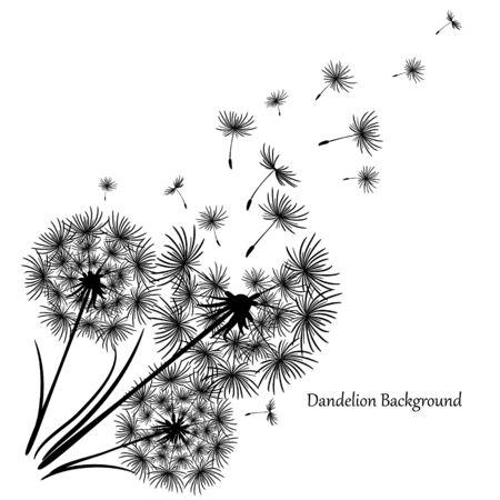 Vintage Löwenzahn, tolles Design für jeden Zweck. Löwenzahn-Vektor. Frühlingsblütenhintergrund. Schöne Ikone mit schwarzem Löwenzahn auf weißem Hintergrund. Blumenhintergrund. Fliegender Löwenzahn.