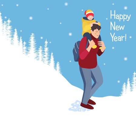 A man walks in a white forest. On his back is a happy child. Dad carries a smiling baby. New year card with a happy family. Walk father and son or daughter . Snowy landscape of merry christmas. Vector