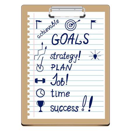 Presse-papiers vectoriel avec objectifs et plan d'action. Liste des points importants du développement commercial. Objectifs, stratégie, plan, travail, temps, succès. Fixation des objectifs, planification, idée et motivation de l'équipe.