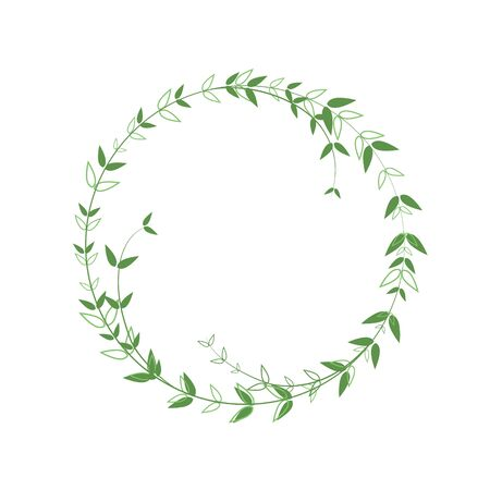 Beautiful round frame with green foliage. Neat border in a minimalist style. Vector logo element. A wreath with contour leaves and solid. Design template for invitations, greetings, logo.