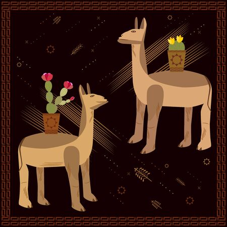 A set of two unusual lamas. Cute animals with cacti on the back. Ethnic fresco, frame in dark brown color with ornament. Vector llama character.