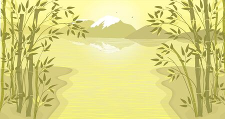 The banks of the river or lake , on which bamboo trees grow. Mountains are visible in the distance. Mountains are reflected in the water. Two birds fly over the hills. Asian landscape in yellow. 일러스트
