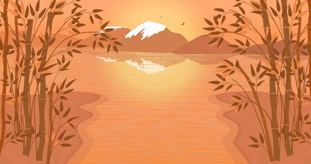 Vector landscape with bamboo stalks. The bank of the river, lake, the mountain with snowy peaks, bamboo forest, sunset. Two birds fly over the mountains. Landscape in orange tones