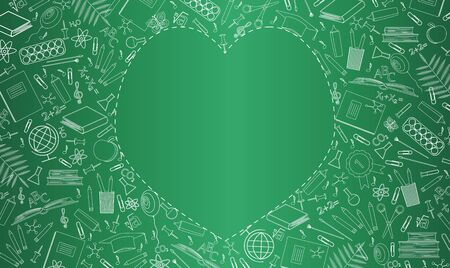 Banner with green school board. School supplies, education symbols are drawn in chalk. Empty place in the form of heart for text. Flat vector illustration. Happy Teachers Day, start of the school year Ilustracja