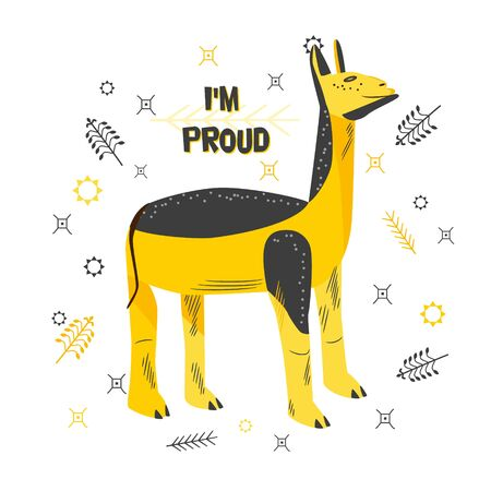 Cool llama. Image, analogy of a proud arrogant man. Smart, successful, comic person. Happy contented face. Sticker, print. Text I'm proud. Flat style vector illustration isolated on white background