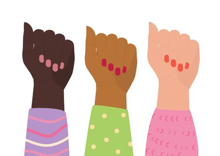 Three female hands in colorful blouses are raised up. Women of different nationalities together. Concept of feminism, symbol of womens rights. Girl power. Happy womens day banner. Comic illustration