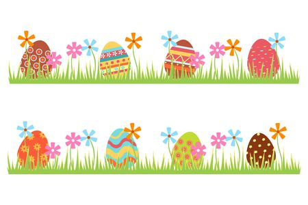 Easter eggs icons. Colorful eggs lie in the grass with flowers. Flat cartoon design. Large set with eggs with different patterns. Easter illustration creation template. Vector