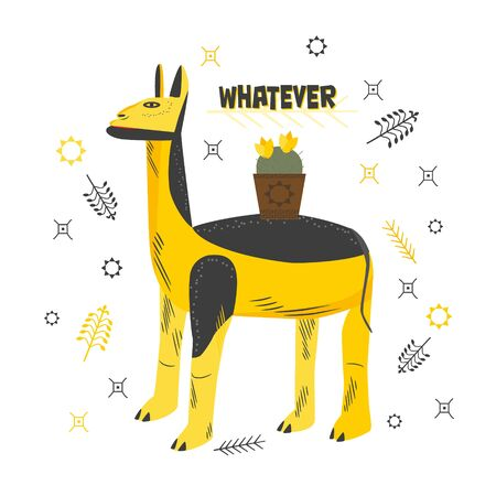 Cartoon character lama with an indifferent human character. The inscription whatever. Charming animal for print, cards, decorations, clothes. Lama yellow black with a cactus on his back. Vector Stock Illustratie