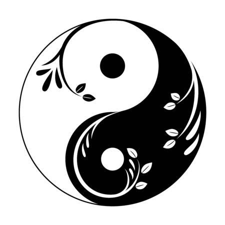 Decorative yin yang symbol. Abstract yin-yang icon with sprigs and leaves. Symbol of unity of masculine and feminine. Vector stock illustration. Isolated element on a white background.