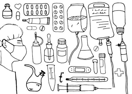 Sketch, linear drawing with medicines. Set of hospital items, pills, medical tools, equipment. Masked doctor. Doodle illustration isolated on white background. Illustration