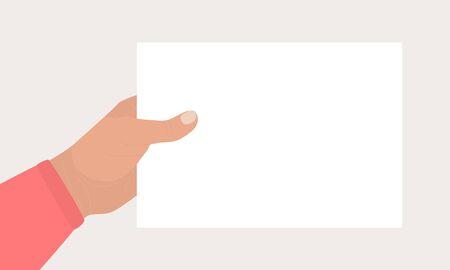 Hand in red shirt holds a rectangular blank sheet of paper. Hand holding template of letter, ticket, invitation, flyer, postcard, certificate, list. Vector flat cartoon illustration. Ilustração Vetorial