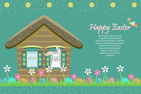 Happy Easter greeting card, holiday invitation. Fairytale house, an Easter bunny peeps out the window. Painted eggs are hidden in the grass with flowers. Sale, children's egg hunt. Vector illustration