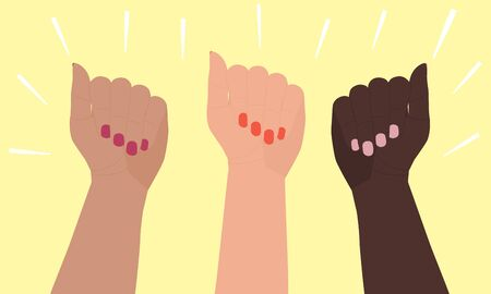 Three female hands of different skin colors are raised up. Flat cartoon vector illustration isolated on yellow background. A symbol of womens equality, multicultural friendship, teamwork, victory.