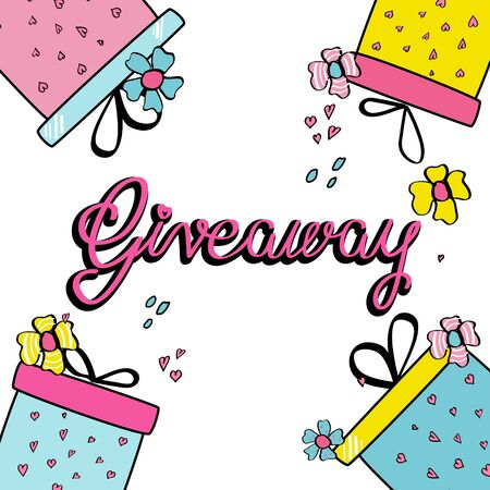Giveaway template. Banner, poster for festive online prize contest, competition. Colorful boxes with hearts, ribbons, flowers. Hand drawn phrase Giveaway. Pattern, print. Promotion in social networks