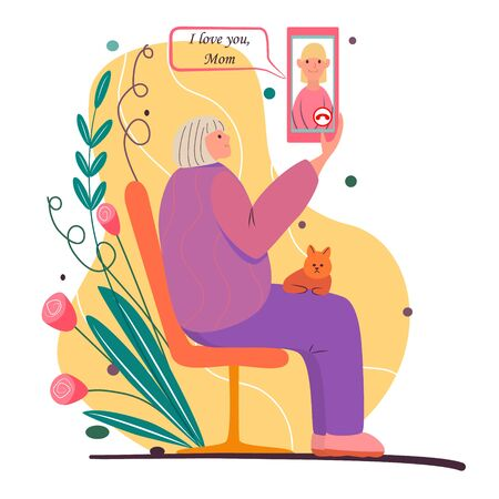 Call your mom. Cartoon illustration for mothers day. Elderly woman sits on bench, holds smartphone. Cat lies on the grandmothers lap. Video link, talk, chat with daughter. Senior woman with phone