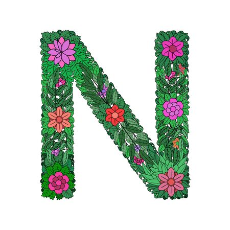 The letter N - bright element of the colorful floral alphabet on a white background. Made from flowers, twigs and leaves. Floral spring ABC element in vector.