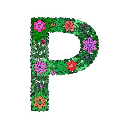 The letter P - bright element of the colorful floral alphabet on a white background. Made from flowers, twigs and leaves. Floral spring ABC element in vector. Vector illustration.
