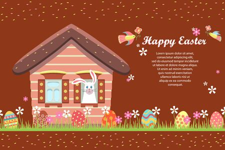 Happy Easter greeting card, holiday invitation. Fairytale house, an Easter bunny peeps out the window. Painted eggs are hidden in the grass with flowers. Sale, children's egg hunt. Vector illustration Vectores