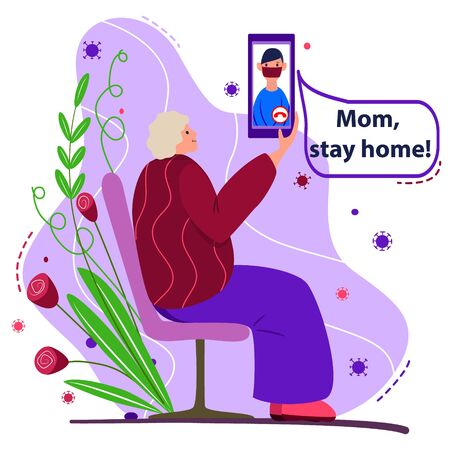 Stay at home. Son warns an elderly mother. Aged woman sits on bench outdoors. Coronavirus bacteria fly around. Sick man in mask on the phone screen. Poster, banner call for self isolation, quarantine