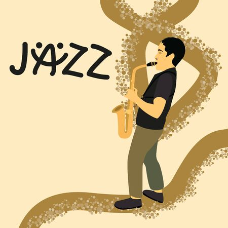 Poster, flyer, banner template for jazz music festival, concert, performance. Advertising background with saxophonist playing saxophone and place for text. Black hand drawn lettering of the word jazz.
