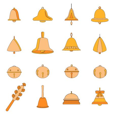 Set of different vector bells. Christmas bells, doorbell, table bell, hand bell, hanging ringing round bell, shaker, jingle bells. Flat cartoon icons. Collection of items isolated on white background