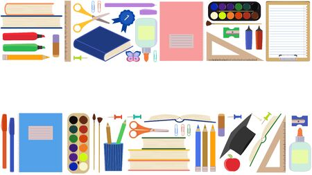 Back to school. Seamless border, advertising template with school supplies. Set of school stationery in a flat cartoon style. Isolated on a white background. Website design concept, teaching children Vecteurs