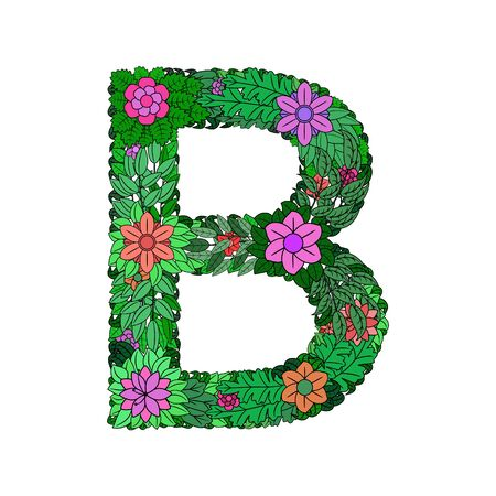 The letter B - bright element of the colorful floral alphabet on a white background. Made from flowers, twigs and leaves. Floral spring ABC element in vector. Vector illustration.