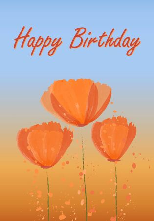 Happy birthday card with blooming Californian poppies. Orange-blue background of the field and sky. Abstract pattern - golden poppy. Vector illustration. Illustration