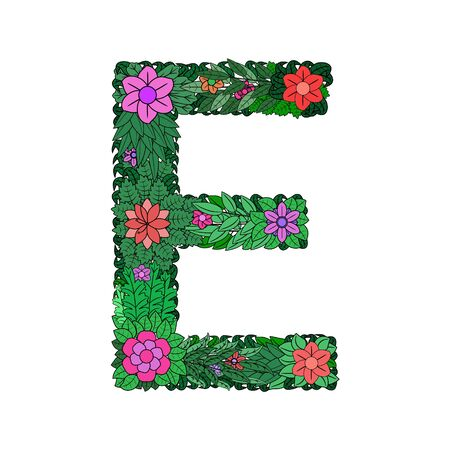 The letter E - bright element of the colorful floral alphabet on a white background. Made from flowers, twigs and leaves. Floral spring ABC element in vector.
