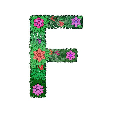 The letter F - bright element of the colorful floral alphabet on a white background. Made from flowers, twigs and leaves. Floral spring ABC element in vector.