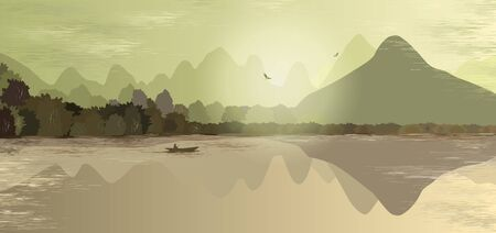 Mountain landscape in green and beige tones. Mountains, hills, forest, mountain lake or river, a lonely man in a boat fishes. Two birds fly over the mountains. Foggy morning. Outdoor recreation.