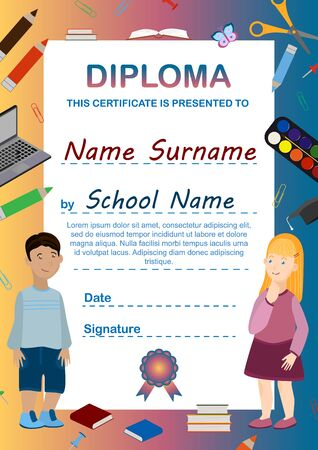 Diploma template for preschool and primary school. Vertical A4 format for printing. Certificate design for boy and girl with school objects. Congratulations for graduation. Vector illustration
