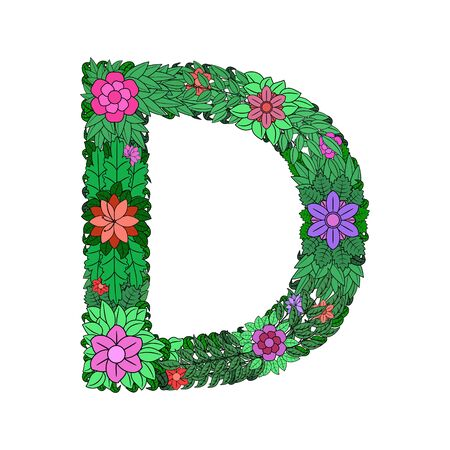 The letter D - bright element of the colorful floral alphabet on white background. Made from flowers, twigs and leaves. Floral spring ABC element in vector.
