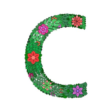 The letter C - bright element of the colorful floral alphabet on white background. Made from flowers, twigs and leaves. Floral spring ABC element in vector. Illustration