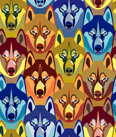 Seamless pattern with dogs heads. Bright youth design. Ideal for teenage fashion, stationery, upholstered furniture, textiles, nursery decoration, wrapping paper. Colorful dogs. Vector.