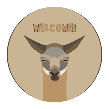 Lama logo template. Invitation card, advertising. Stylized animal character of South America. Lama, vicuna, alpaca, guanaco Vector illustration