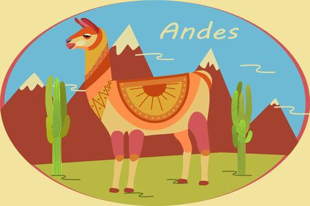 Landscape in oval frame with Andes Mountains, cacti and llamas. Background for zoo, tourism, souvenir, card, advertising. Stylized animal character of South America. Lama, vicuna, alpaca, guanaco. Иллюстрация