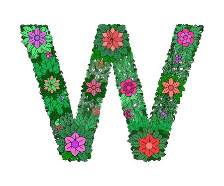 The letter W - bright element of the colorful floral alphabet on a white background. Made from flowers, twigs and leaves. Floral spring ABC element in vector.