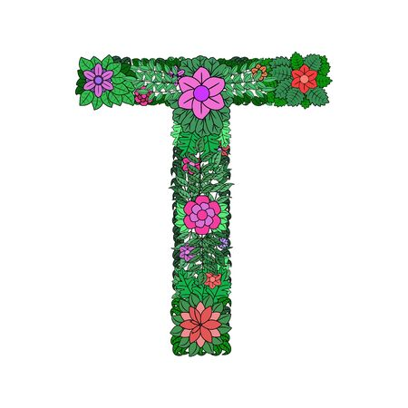 Letter T - bright element of the colorful floral alphabet isolated on white background. Made from flowers, twigs and leaves. Floral spring ABC element in vector.