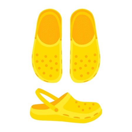 Yellow flip flop isolated on white background. Rubber flip flops with holes and strap. Silicone slates, clogs for children and adults. Summer aqua shoes, sandals. Vector flat illustration. Top view Vettoriali