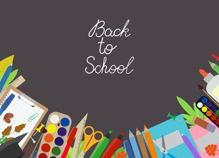 School stationery banner template. Black board with a chalk inscription Back to school. Card, sale, happy teachers day, beginning of the school year. Vector elements under clipping mask, editable