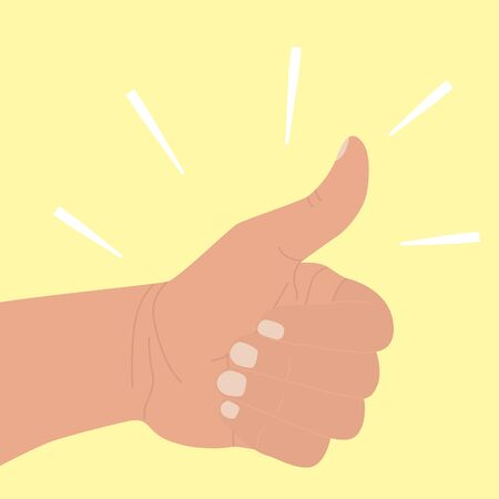 Thumb up. Symbol of agreement, praise, confirmation. Positive icon okay good job. Hand with a raised thumb in a flat cartoon style isolated on a yellow background. Vector illustration. Gesture Like